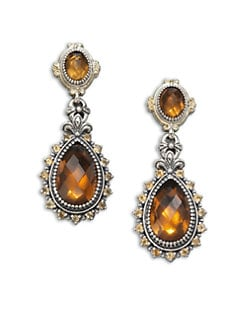 Konstantino - Cognac Quartz, Citrine, Sterling Silver and 18K Yellow Gold Earrings