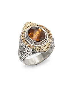 Konstantino - Cognac Quartz, Citrine, Sterling Silver and 18K Yellow Gold Ring