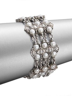 Konstantino - Cultured Pearl and Sterling Silver 3-Row  Bracelet