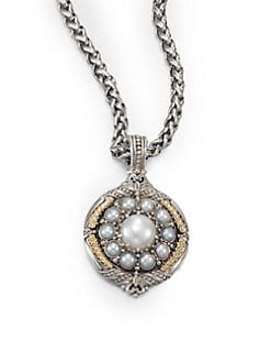 Konstantino - Cultured Pearl, Sterling Silver and 18K Yellow Gold Enhancer