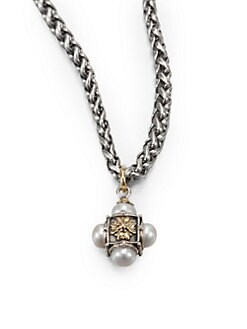 Konstantino - Cultured Pearl, Sterling Silver and 18K Yellow Gold Petite Cross Enhancer