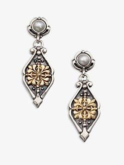 Konstantino - Pearl, Sterling Silver & 18K Gold Drop Earrings