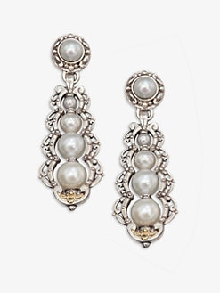 Konstantino - Cultured Pearl, Sterling Silver and 18K Yellow Gold Drop Earrings