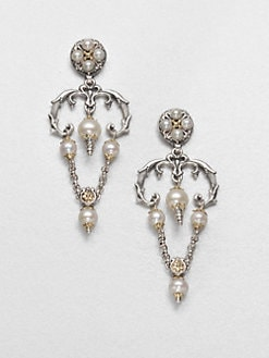 Konstantino - Cultured Pearl, Sterling Silver and 18K Yellow Gold Chandelier Earrings