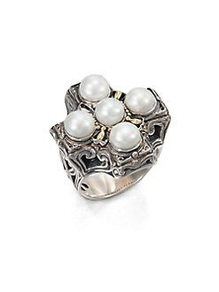Konstantino - Cultured Pearl, Sterling Silver and 18K Yellow Gold Cross Ring