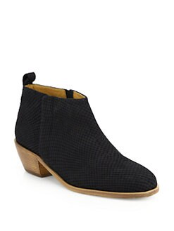 10022-SHOE Saks Fifth Avenue - Textured Leather Ankle Boots