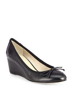 10022-SHOE Saks Fifth Avenue - Brina Leather Wedge Pumps