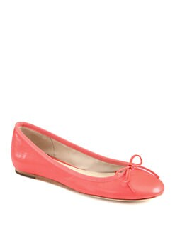 10022-SHOE Saks Fifth Avenue - Loralei Leather Bow Ballet Flats