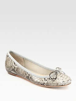 10022-SHOE Saks Fifth Avenue - Loralei Snake-Embossed Leather Ballet Flats