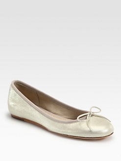 10022-SHOE Saks Fifth Avenue - Loralei Metallic Leather Bow Ballet Flats