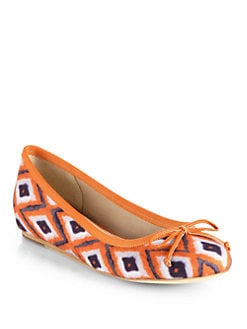 10022-SHOE Saks Fifth Avenue - Loralei Ikat-Print Canvas Ballet Flats