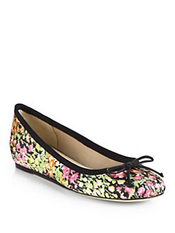 10022-SHOE Saks Fifth Avenue - Loralei Floral-Print Satin Ballet Flats