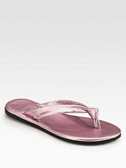 10022-SHOE Saks Fifth Avenue - Metallic Leather Knotted Thong Flip Flops