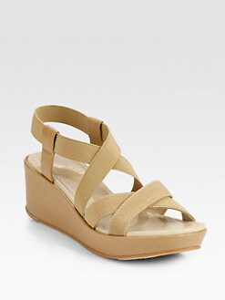 10022-SHOE Saks Fifth Avenue - Elasticized Leather Wedge Sandals