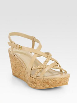 10022-SHOE Saks Fifth Avenue - Braided Leather Cork Wedge Sandals