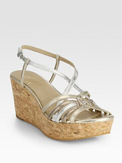 10022-SHOE Saks Fifth Avenue - Metallic Leather Cork Wedge Sandals