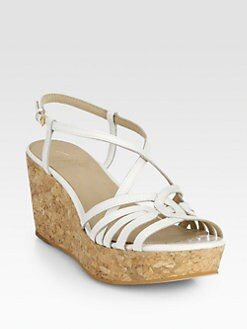 10022-SHOE Saks Fifth Avenue - Patent Leather Cork Wedge Sandals