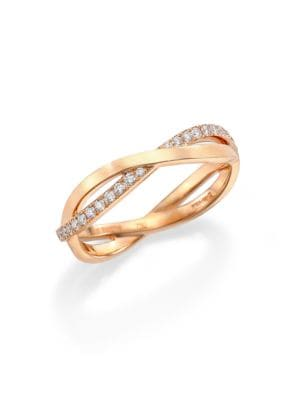 Infinity Diamond & 18K Rose Gold Half Band Ring