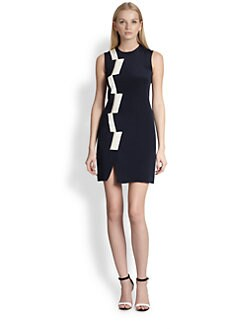 Thakoon - Silk & Leather Basketweave Panel Dress