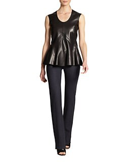 Derek Lam - Leather & Jersey Peplum Top