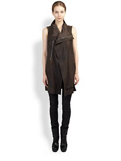 Rick Owens - Sleeveless Leather Dust Coat