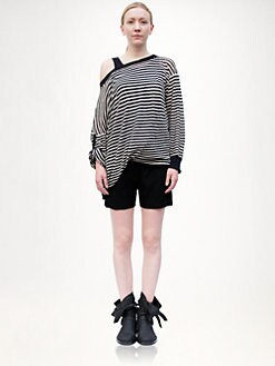 Ann Demeulemeester - Striped Asymmetrical Pullover