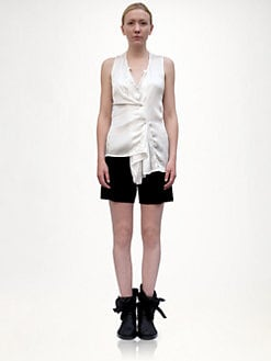 Ann Demeulemeester - Distressed Silk Satin Top