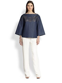 Thakoon - Laser-Cut Chambray Top