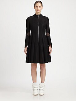 Junya Watanabe - Paneled Mesh Coat Dress