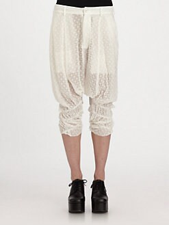 Comme Comme - Embroidered Eyelet Chiffon Pants
