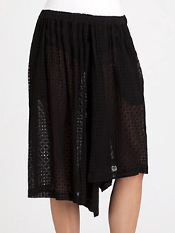 Comme Comme - Embroidered Chiffon Skirt-Shorts