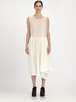 Comme Comme - Embroidered Eyelet Chiffon Dress