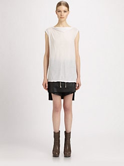 Rick Owens DRKSHDW - Waxed Poplin Drawstring Short-Skirt
