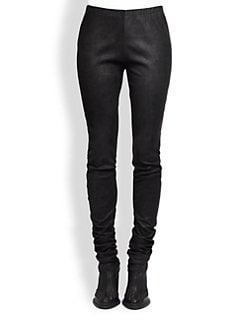 Ann Demeulemeester - Leather Silk Leggings