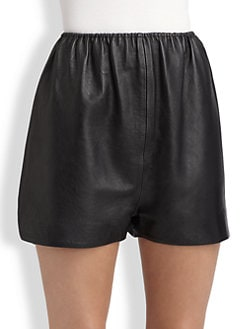 A Detacher - Leather Mini Shorts