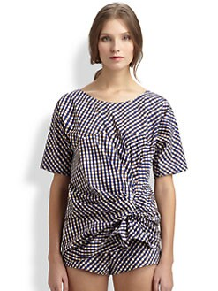 A Detacher - Plaid Gathered Knot Poplin Top