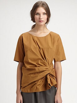 A Detacher - Gathered Knot Poplin Top
