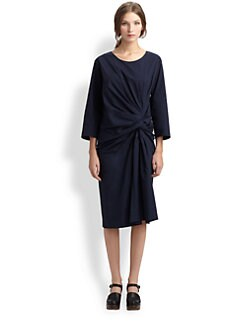 A Detacher - Gathered Knot Poplin Dress
