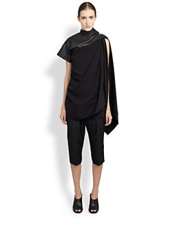 Rick Owens - Leather Combo Toga Top