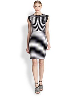 Derek Lam - Leather-Trimmed Stripe Dress