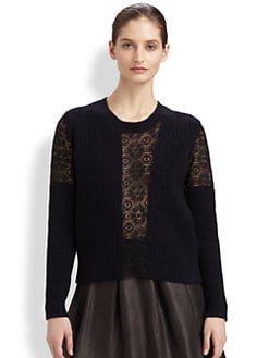 Thakoon - Ribbed Lace Inset Pullover