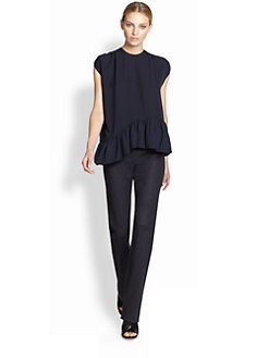 Derek Lam - Silk Asymmetrical Ruffle Top