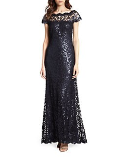 Tadashi Shoji - Off-The-Shoulder Sequined Lace Gown
