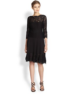 Tadashi Shoji - Pintucked Lace Cocktail Dress