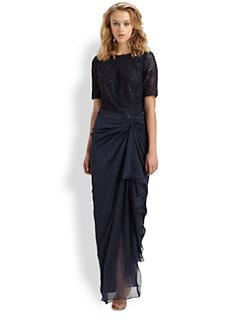 Tadashi Shoji - Beaded Drape Gown