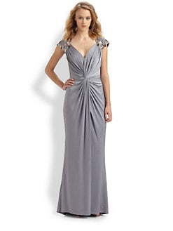 Tadashi Shoji - Embroidered Jersey Gown
