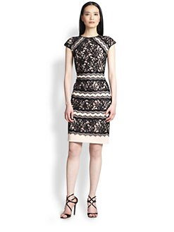 Tadashi Shoji - Short-Sleeve Lace Cocktail Dress