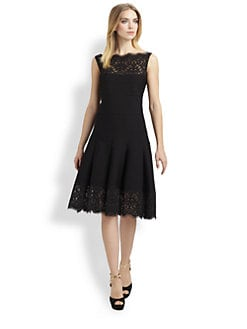Tadashi Shoji - Lace-Trimmed Pintuck Dress