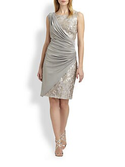 Tadashi Shoji - Sequined Drape Dress