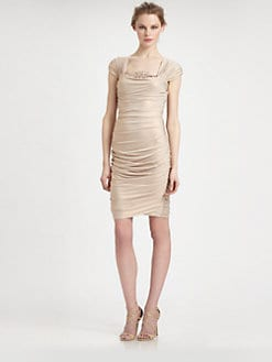 Tadashi Shoji - Metallic Ruched Dress